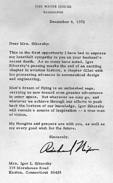 LETTER FROM RICHARD NIXON